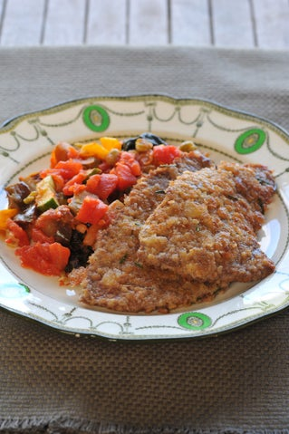 Crumbed schnitzel with Lyn's vegetable medley