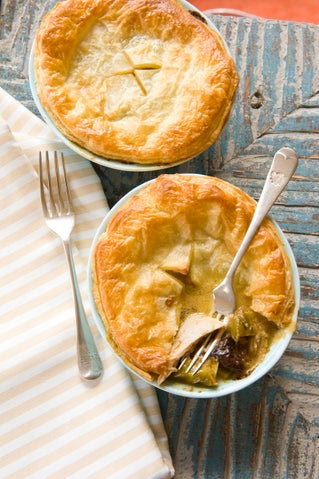 Leek and tarragon chicken pies