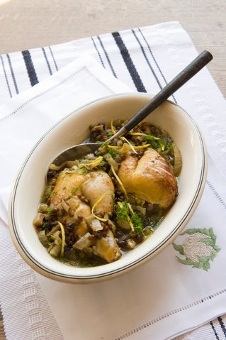 Fennel braised chicken with puy lentils