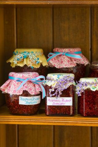 Raspberry, rhubarb and rosewater jam