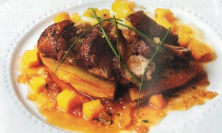 BBQ duck with ginger salsa