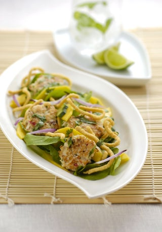 Vietnamese fishcakes with crispy noodle salad
