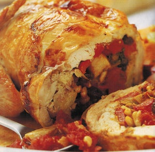Chicken Or Turkey With Artichoke And Red Pepper Stuffing