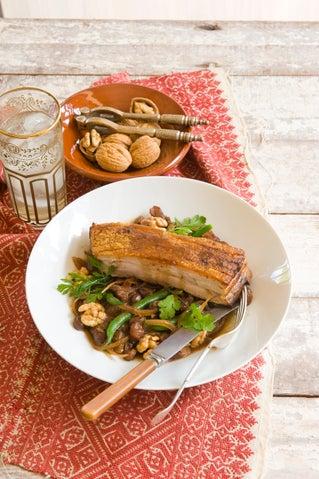 Slow pot-roasted pork belly