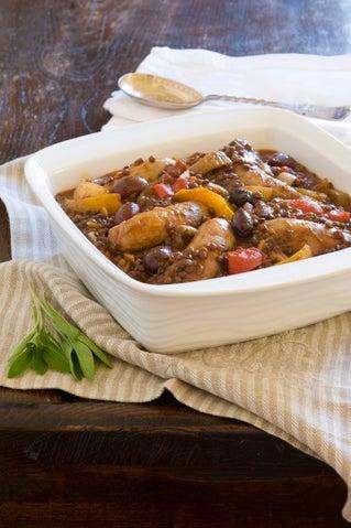 Pork sausage and lentil braise
