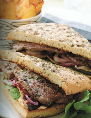 Deli lamb steak sandwich