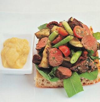 Italian lamb salad with roasted garlic aioli