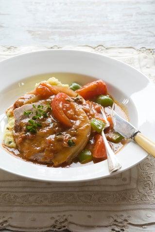 Cajun pork pot roast with horseradish mashed spuds