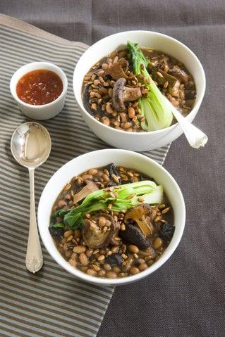 Char siu beans with mushrooms