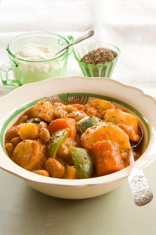 Hungarian bean and vegetable hot pot