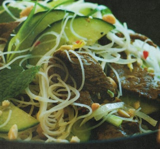 Rice noodle and stir-fried beef salad with chilli and lime dressing