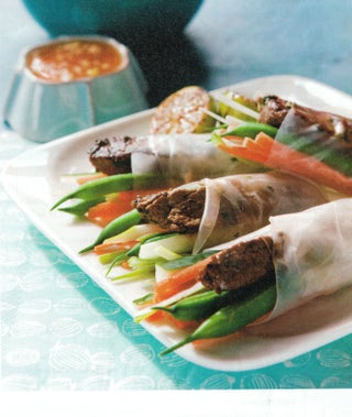 Vietnamese beef and bean rolls with dipping sauce