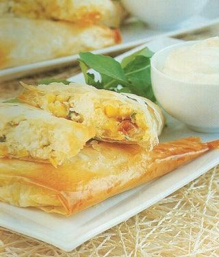 Roasted garlic, sweetcorn and feta triangles