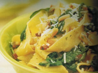 Pancetta, pesto and rocket pappardelle