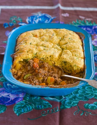 Cornbread-topped Mexican beef pie