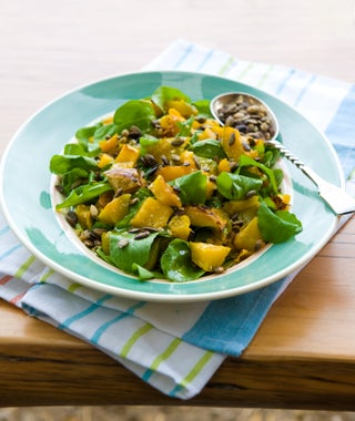 Pumpkin and rocket salad with millionaire's dressing