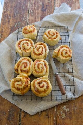 Relish and bacon pinwheel scones