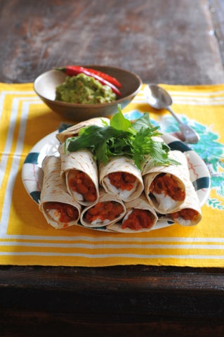 Seafood burritos with spicy lime guacamole