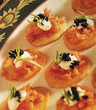 Potato blini with smoked salmon and caviar