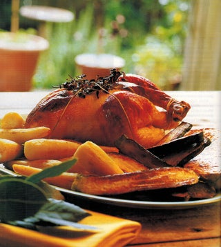 Orange And Maple Glazed Roast Chicken With Wild Rice And Cranberry Stuffing