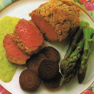Roast lamb topside with lime and curry crust