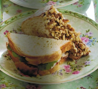 Pear and blue cheese sandwiches with toasted walnut crumbs