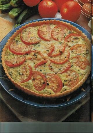 Courgette, tomato and pesto flan