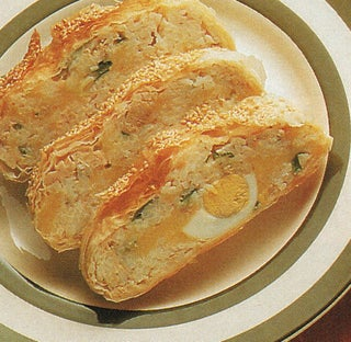 Cheese, salmon and onion strudel