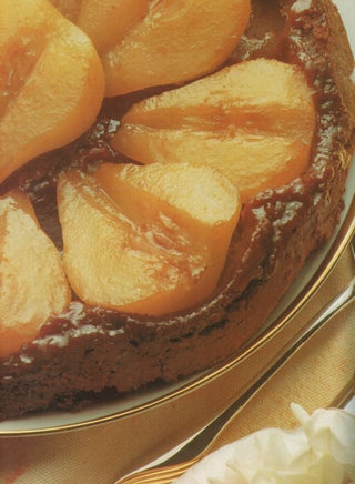 Upside-down pear tart with chocolate pastry