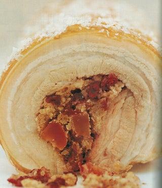 Cranberry-seasoned rolled roast belly pork