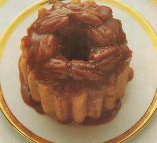 Steamed butterscotch and pecan pudding