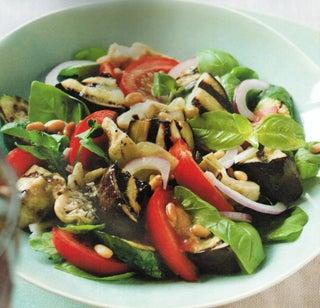 Aubergine and artichoke salad