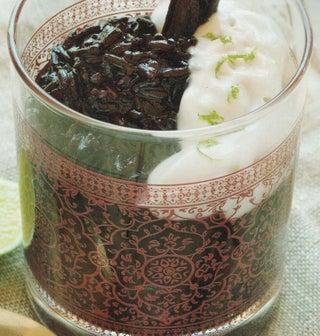 Vanilla black rice pud with orange syrup and coconut cream