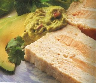 Salmon terrine with lemon and fennel hollandaise sauce or guacamole sauce