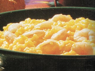 Pumpkin and ginger risotto with prawns