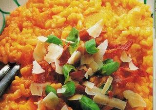 Pumpkin and crispy bacon risotto