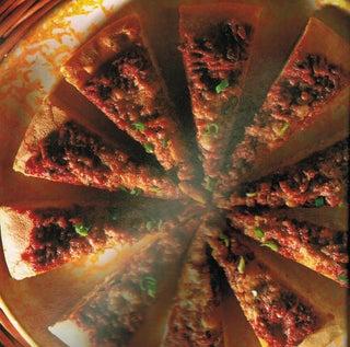 Focaccia with tomato and mushroom paste