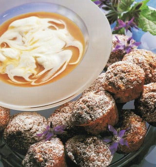 Fudgy banana muffins with caramel dipping sauce
