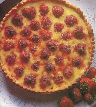 Strawberry coconut brulee tart