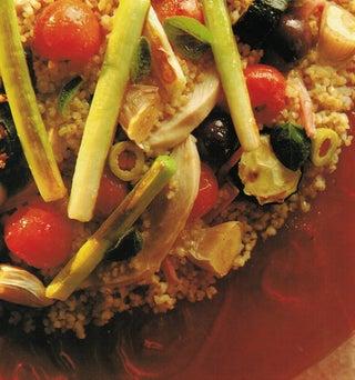 Roasted summer vegetables and bulgur salad