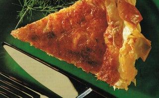 Fresh salmon and dill filo tart
