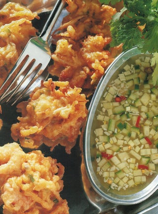 Prawn and vegetable fritters with cucumber dipping sauce