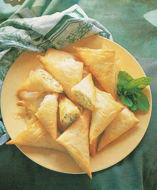 Feta with fresh herbs in filo
