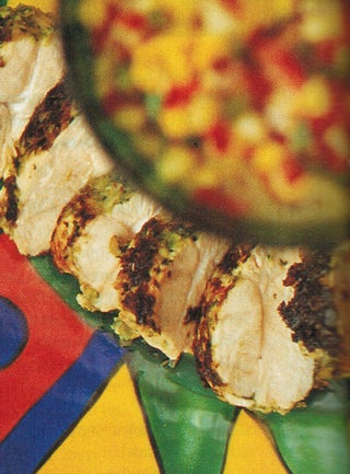 Chargrilled spring chicken with fresh corn and chilli relish
