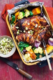 Tandoori-inspired roast chicken with pear and tamarind chutney