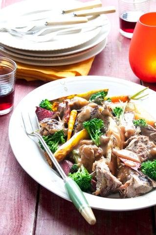 Slow roast lamb shoulder stuffed with tapenade