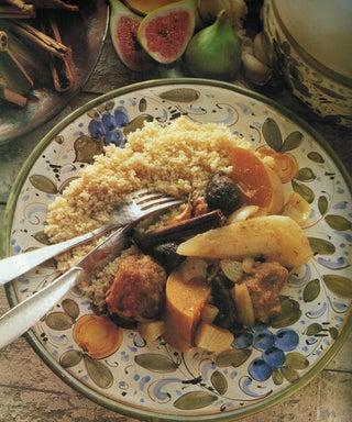 Pear and fig pork tagine on lemon couscous