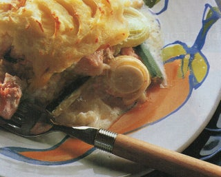 Salmon and courgette sour cream pie