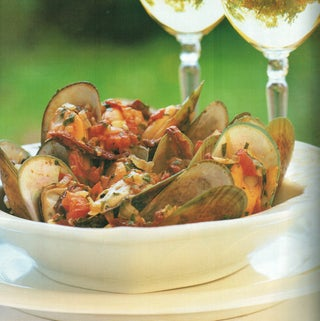 Mussels with herbs and sundried tomato broth