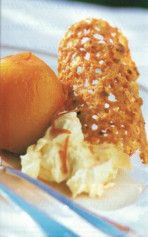 Poached peaches with mascarpone and hazelnut brandysnaps